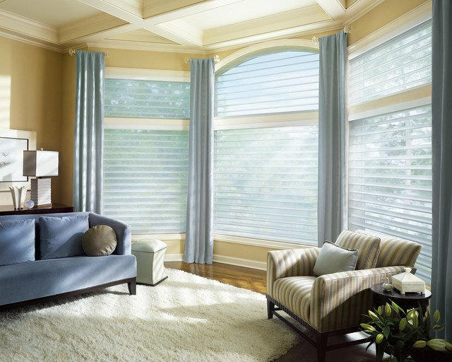 Contemporary Living Room Window Treatments Window Coverings