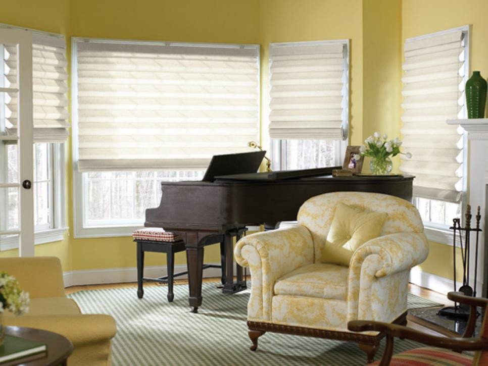 Contemporary Living Room Window Treatments Window Treatment Ideas