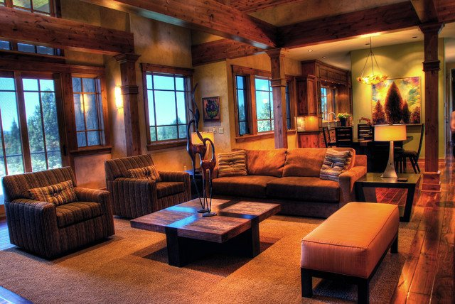 Contemporary Rustic Living Room Rustic Modern Mountain Retreat Contemporary Living