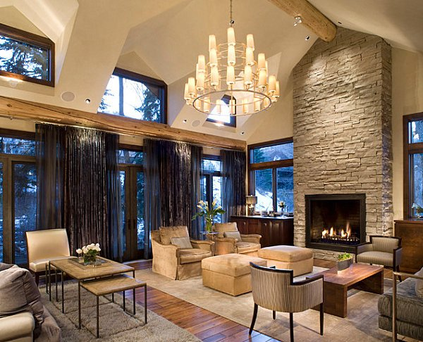Contemporary Rustic Living Room Stone Fireplaces Add Warmth and Style to the Modern Home