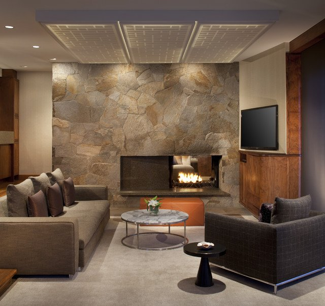 Contemporary Style Living Room Slope Style Condo Contemporary Living Room Other