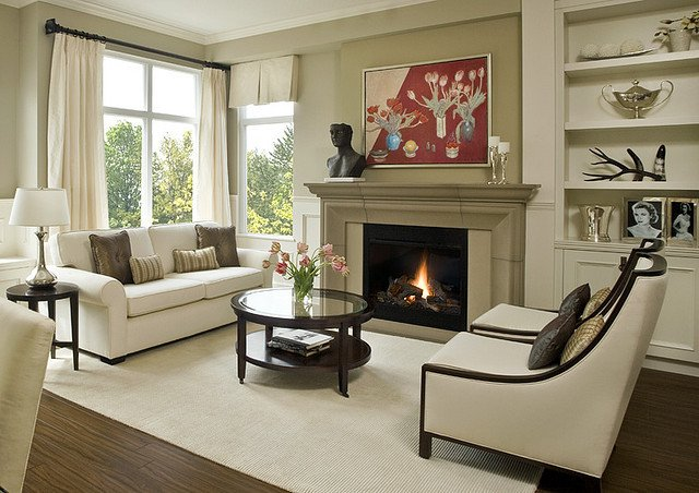 Contemporary Traditional Living Room Fireplace Mantels and Surrounds