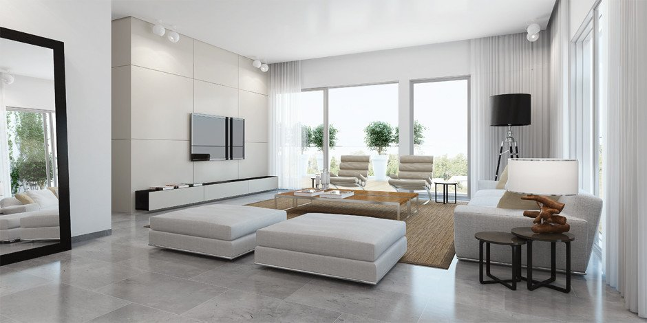 Contemporary White Living Room ando Studio Designs Inside & Out