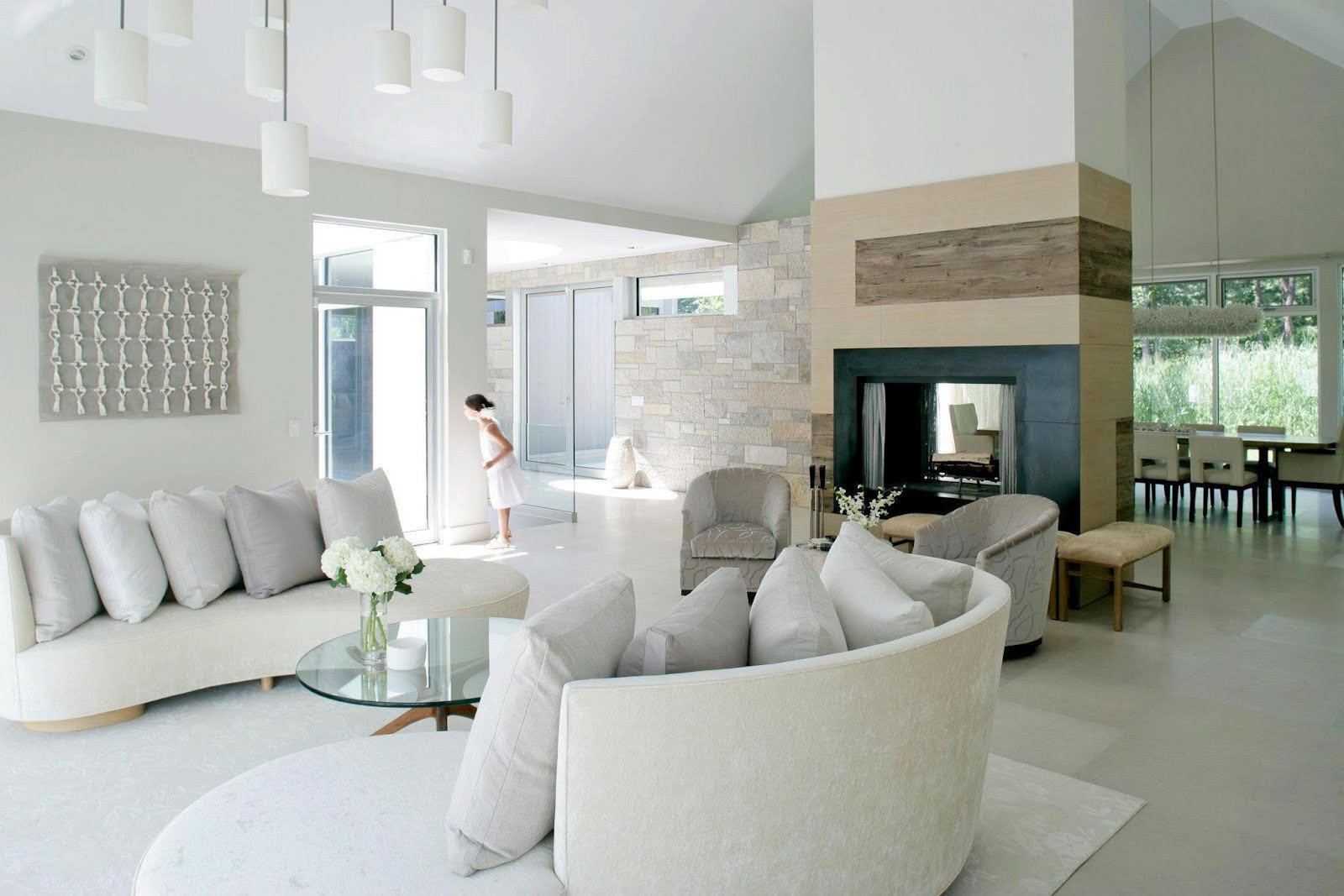 Contemporary White Living Room See This House White On White In A Modern Hamptons