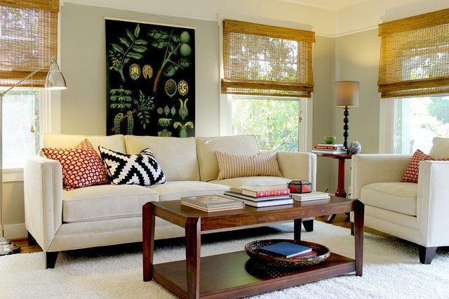 Cottage Traditional Living Room Botanical Chart In Cottage Style Bungalow Traditional