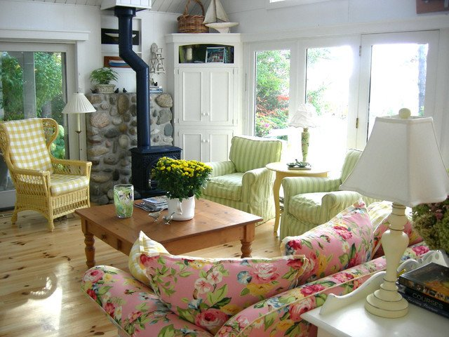Cottage Traditional Living Room Scandinavian Country Cottage