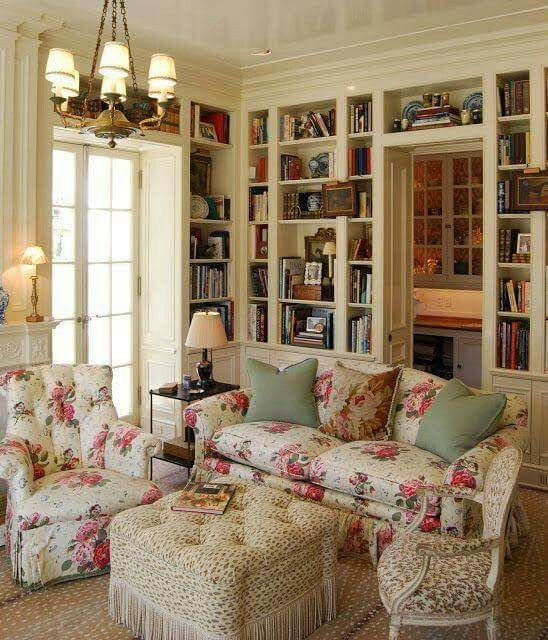Country themed Living Room Decor Rose themed Living Room and Home Library English Country