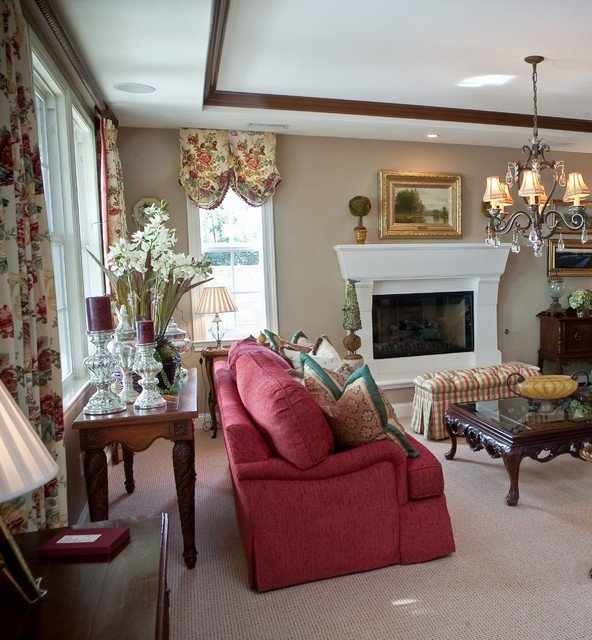 Custom Carlsbad Home Elegant English Country traditional living room san go