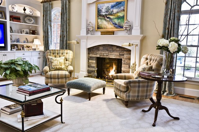 Cozy Traditional Living Room Cozy Fire and Club Chairs Traditional Living Room