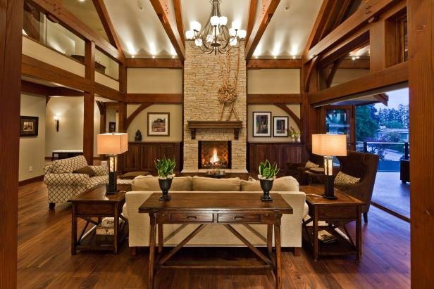 Cozy Traditional Living Room Cozy Traditional Living Room with Tall Natural Stone