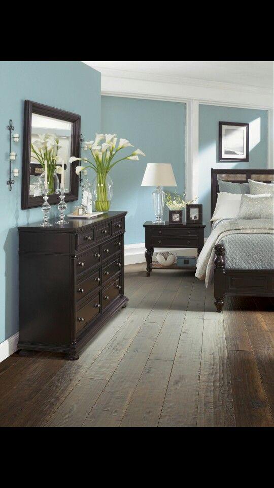 Dark Wood Bedroom Furniture Dark Furniture Blue Walls Wood Floors I Love This
