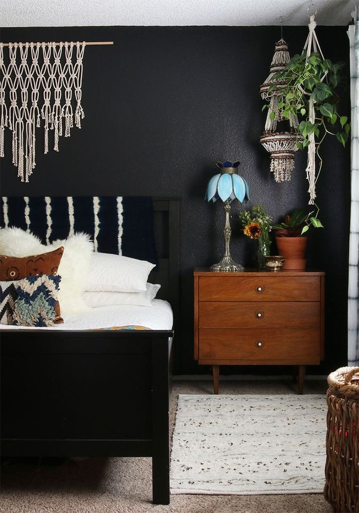 Dark Wood Bedroom Furniture Decor Black Walls In A Boho Bedroom with Images