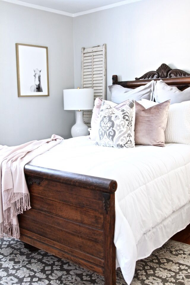 Dark Wood Bedroom Furniture I Love the Bedding Colours with the Dark Wood Exact Same as