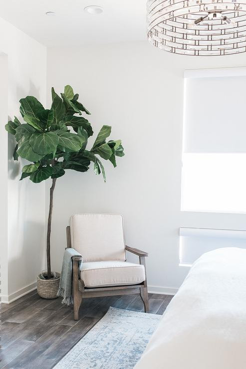 Decorative Chairs for Bedroom Gray Wood Frame Accent Chair with Fiddle Leaf Fig Plant
