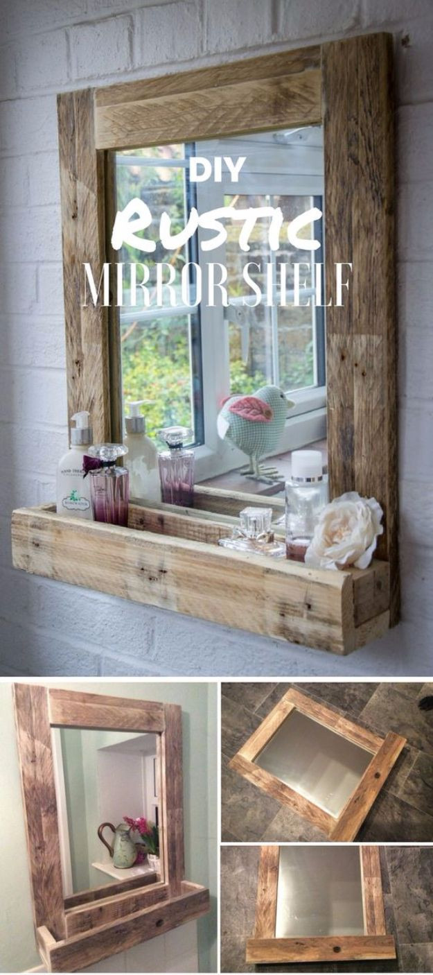 Diy Bedroom Decor It Yourself Diy Mirrors – Diy Rustic Mirror Shelf – Best Do It Yourself