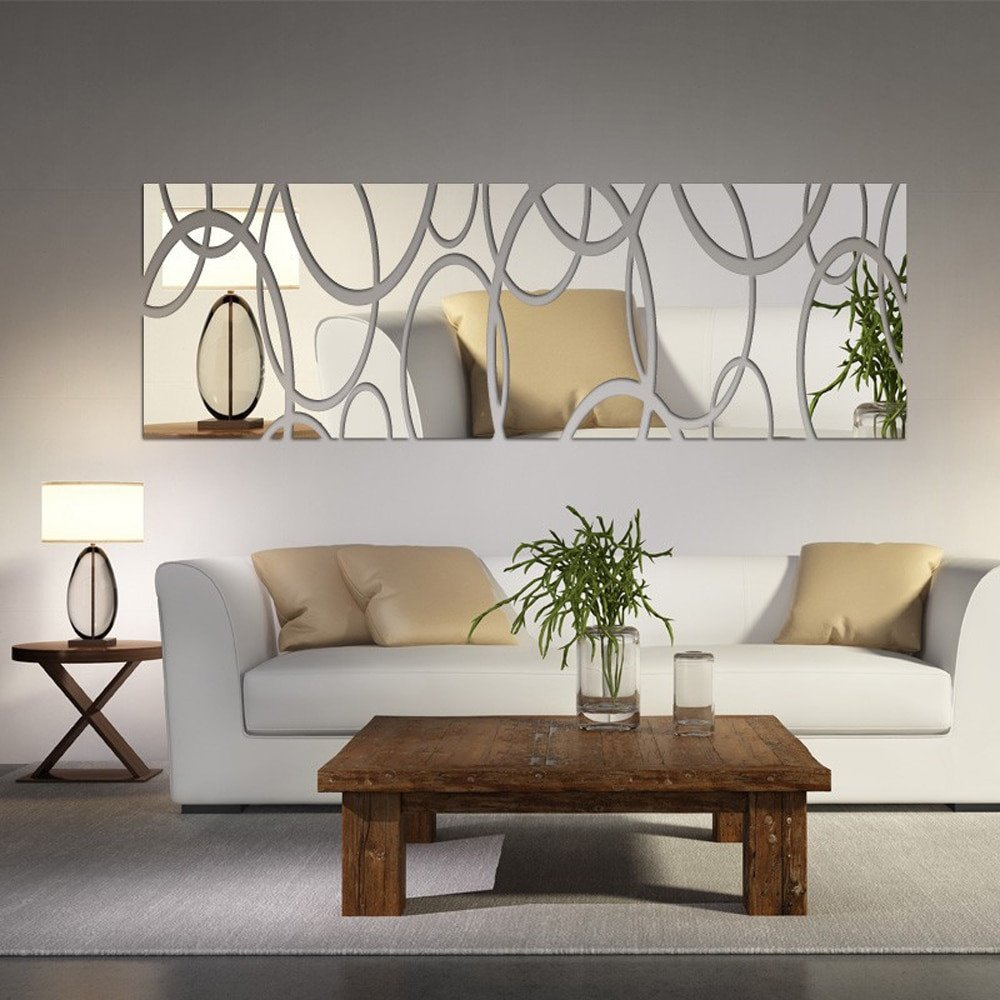 Diy Living Room Wall Decor Acrylic Mirror Wall Decor Art 3d Diy Wall Stickers Living