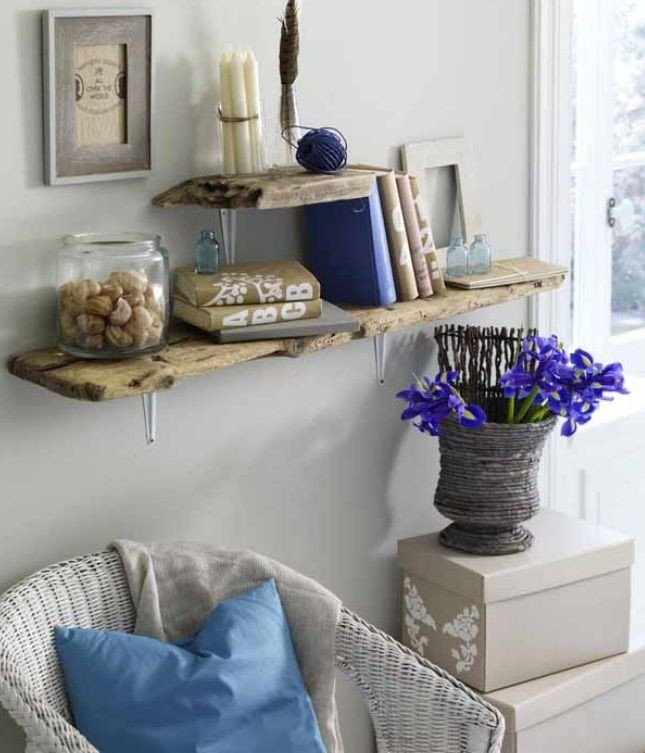 Diy Living Room Wall Decor Diy Driftwood Decor Home Living Room Wall Shelves Planks
