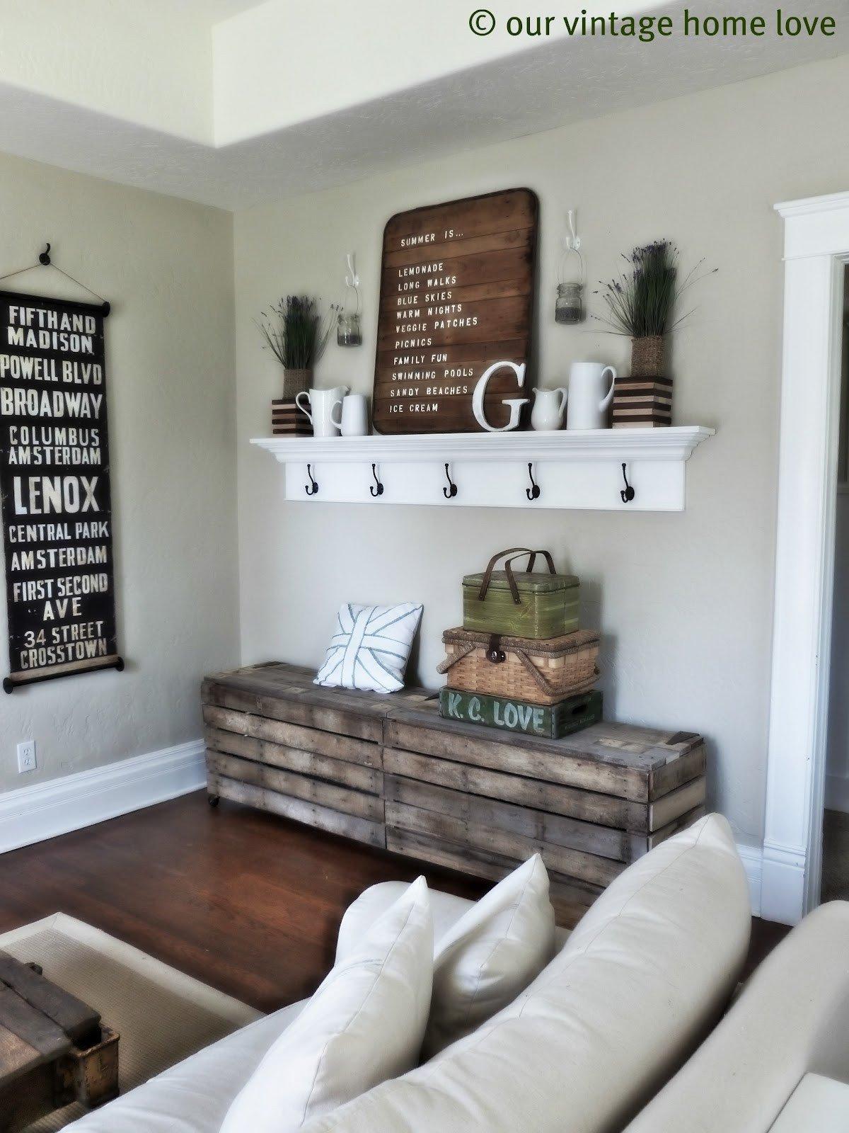 Diy Rustic Living Room Decor Vintage Home Love Spring Summer Mantel Ledge