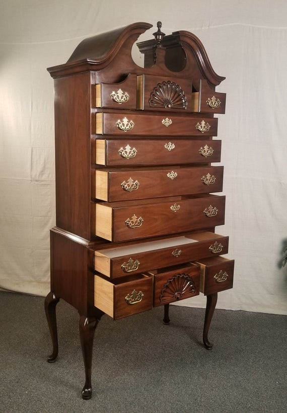 Drexel Heritage Bedroom Furniture Drexel Heritage Queen Anne Style Mahogany High Boy Chest Dresser Cabinet Armoire