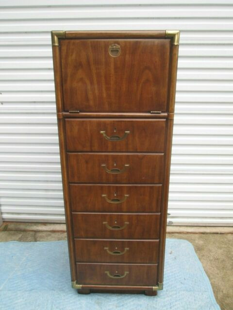 Drexel Heritage Bedroom Furniture Mcm Drexel Heritage Campaign Style Lingerie Mans Tall Chest C Must Pls Rd Dtl
