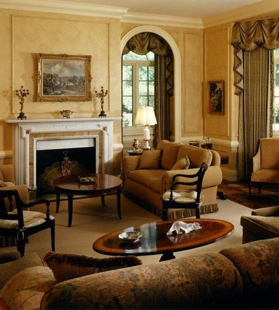 English Traditional Living Room English Manor House Traditional Living Room Chicago