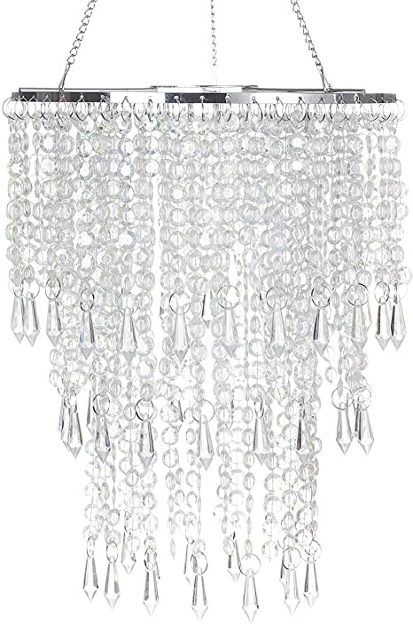 Fake Chandelier for Bedroom Sparkling Iridescent Beaded Chandeliers 8 6 Inches Diameter for Wedding Centerpiece Living Room Bedroom event Party
