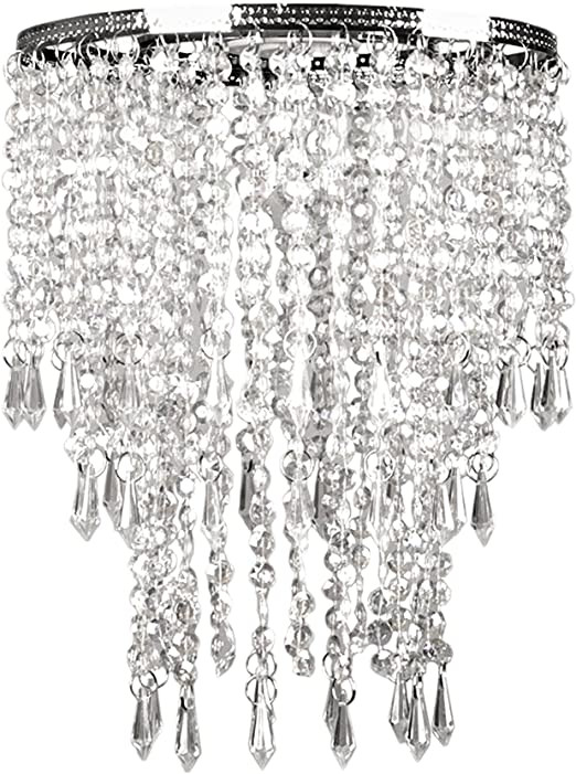 Fake Chandelier for Bedroom Tadpoles Faux Crystal Triple Layer Dangling Shade Chandelier Style