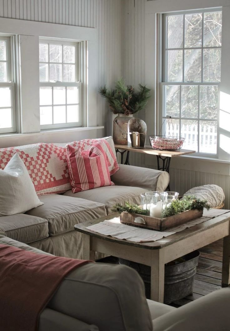 Farmhouse Living Room Curtains Decor Ideas source Pinterest