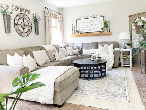 Farmhouse Living Room with Rug Farmhouse Rugs Rugs Ideas