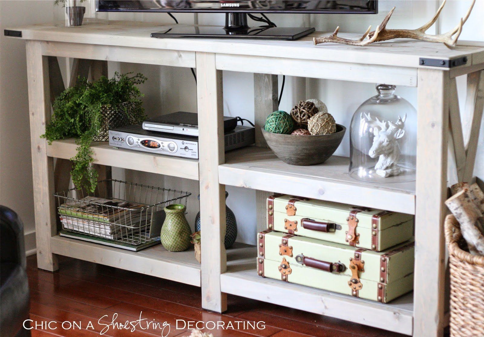 Farmhouse Tv Stand Design Ideas and Decor Chic On A Shoestring Decorating My Farmhouse Chic Living