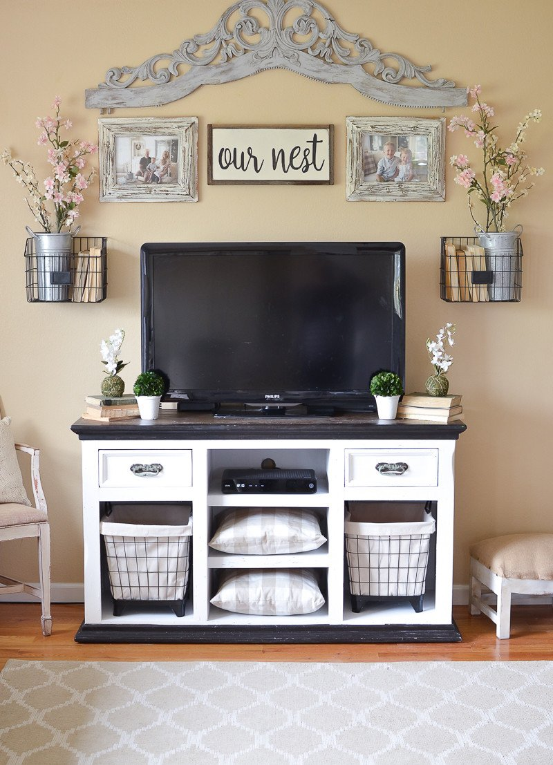 Farmhouse Tv Stand Design Ideas and Decor Easy Farmhouse Style Tv Stand Makeover Little Vintage Nest