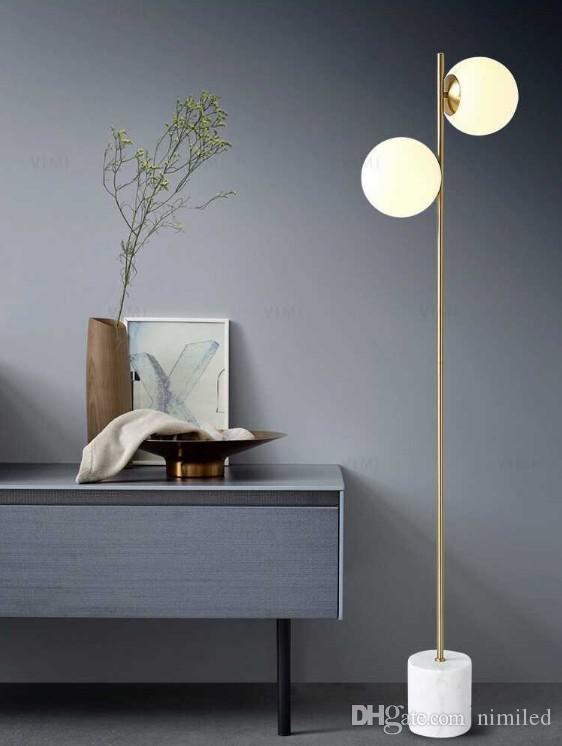 Floor Lamp for Bedroom 2020 Modern Floor Lamp 2 Head Glass Shade Living Room Standing Lamp Bedroom Floor Light for Home Lighting E27 6w Bulb Standing Lamp Llfa From Nimiled
