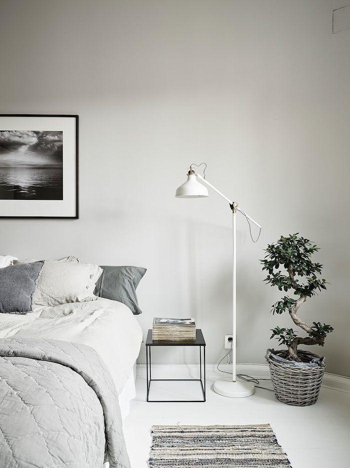 Floor Lamp for Bedroom Bedroom Pale Grey Bed Linen White Floor White Floor Lamp