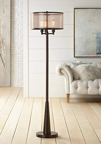 Floor Lamp for Bedroom Durango Rustic Floor Lamp 3 Light Oiled Bronze Metal Brown Sheer Shade Antique Led Edison Bulbs for Living Room Bedroom Franklin Iron Works