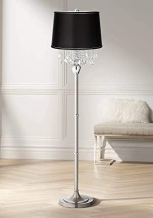Floor Lamp for Bedroom Modern Floor Lamp Satin Steel Chrome Crystal Chandelier Black Satin Fabric Drum Shade for Living Room Reading Bedroom 360 Lighting