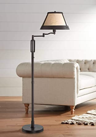 Floor Lamp for Bedroom Samuel Rustic Swing Arm Floor Lamp Industrial Bronze Mica