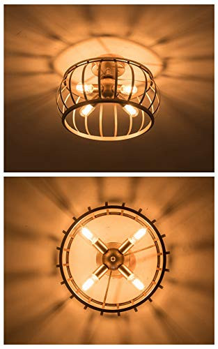 "Flush Mount Bedroom Ceiling Light Alice House 18"" Semi Flush Mount Ceiling Light 4 Light Brown Finish T45 Edison Bulb Light Fixtures Ceiling for Kitchen Bedroom Entance"