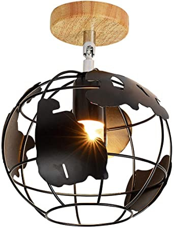 Flush Mount Bedroom Ceiling Light Eeru Industrial Earth Ceiling Light Adjustable Light Fixture Semi Flush Mount Ceiling Lamp Globe Map Shape with Wood Canopy Pendant Light for Bedroom