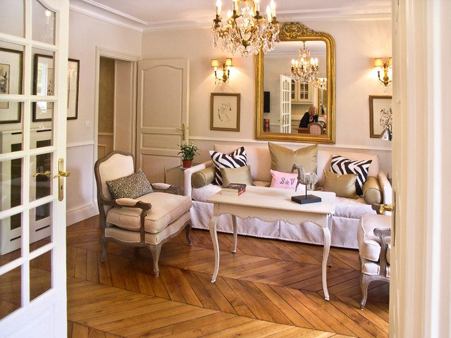 French Contemporary Living Room French Provincial Apartment In Paris Contemporary