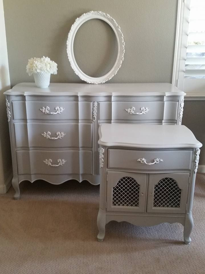 French Provincial Bedroom Furniture Vintage Painted Grey and White French Provincial Dresser and