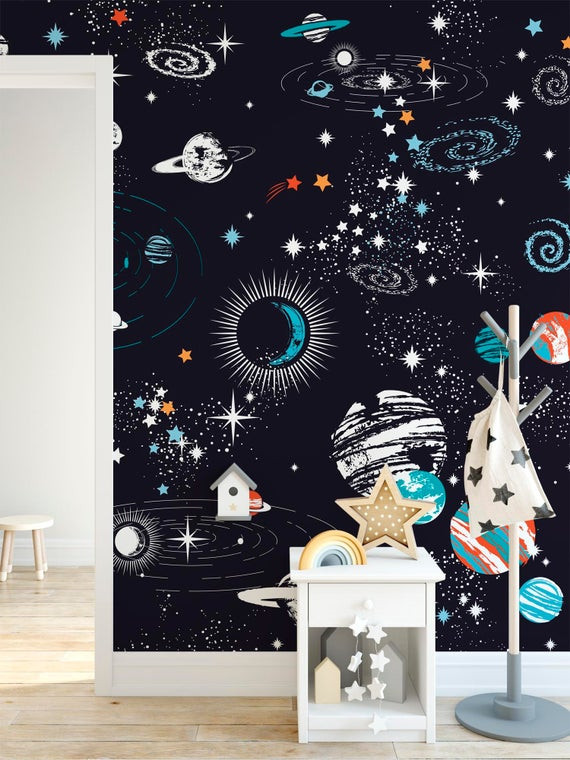 Galaxy Wallpaper for Bedroom Black Outerspace Kids Bedroom Wallpaper Starry Galaxy Wall Decor Removable Fabric Planet Nursery Decor Wall Paper Playroom Wall Art Mural