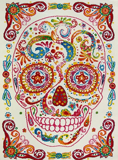 "Girls Bedroom area Rugs Kc Cubs Boy and Girl Bedroom Modern Decor area Rug and Carpet Collection for Kids and Children Rainbow Happy Sugar Skull 3 11"" X 5 3"""