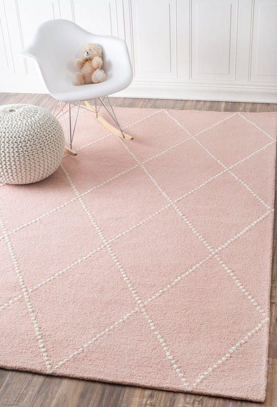 Girls Bedroom area Rugs Nat Diamond Hand Tufted Baby Pink area Rug