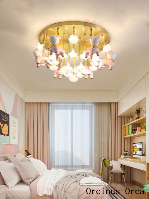Girls Bedroom Ceiling Light Cartoon Creative Deer Crystal Ceiling Lamp Girls Bedrooms Children S Rooms Lights nordic All Copper Simple Color Ceiling Lamp