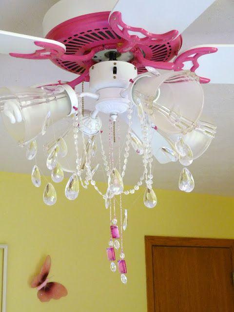 Girls Bedroom Ceiling Light Pink Ceiling Fan Chandelier Makeover