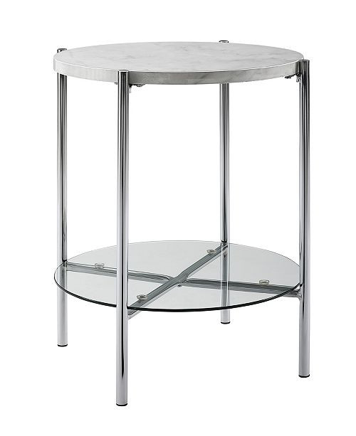 Glass Side Tables for Bedroom 20 Inch Round Side Table In Faux Marble with Glass Shelf and Chrome Legs