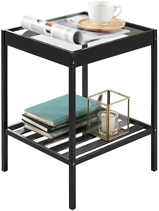 Glass Side Tables for Bedroom Amazon Perfect Furniture Double Layer Magazine Rack
