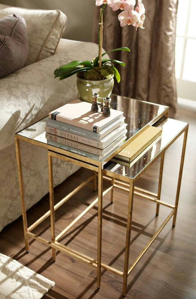Glass Side Tables for Bedroom Interior Design Trends Gold Ethan Allen Mirror top Golden