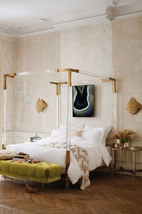 Glass Side Tables for Bedroom Silver Frame Canopy Bed Gold Accents White Bedding Green