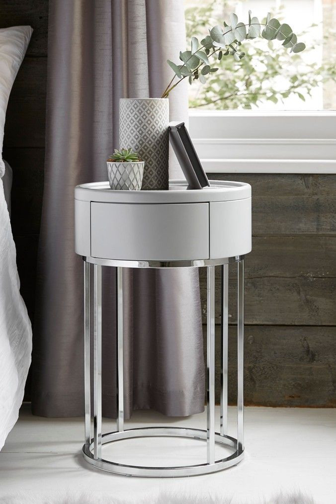 Glass Side Tables for Bedroom Sloane Marble Round 1 Drawer Bedside Table